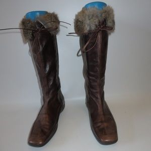 VERONELLA BROWN LEATHER RABBIT FUR TALL BOOTS 11